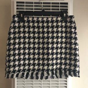 ABS Houndstooth knit Mini Skirt with Fringe Hem